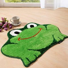 Homat Approx.18x25'Super Cute Child Cartoon Frog Shaped Color Green Smooth Carpet Mat Rug Floor Bedroom Non-Slip Indoor Rug Pad Home Decoration -- You can get more details by clicking on the image. (This is an affiliate link and I receive a commission for the sales) #AreaRugs, Runners and Pads
