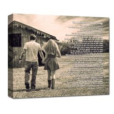 your engagement photo printed on canvas with quote