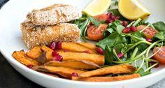 poisson pané et frite de patate douce