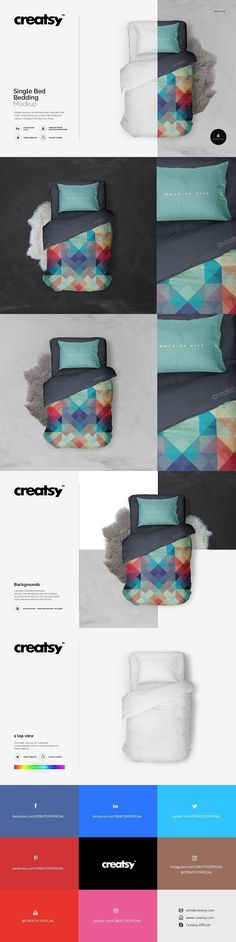 Single Bed Bedding Mockup. Gradients Photoshop