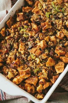 WAFFLE, MAPLE & SAUSAGE STUFFING WITH CRANBERRIES. Breakfast themed stuffing with waffles, maple syrup and sausage for a new twist on a Thanksgiving classic.