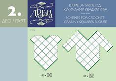 Positioning diagram to make a cochet motif top --- Todo para Crear ... : todo par crear con cuadrados en crochet moldes 1y 2 ----#5 Diagram for joining squares or diamonds to make tops