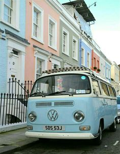 The 35 Must See Places in London: Wandering around Notting Hill is the perfect place to spot rows of pastel houses–and the pretty pastel vintage cars parked outside of them. vintage cars 35 Reasons London is Prettier than Paris Blue Aesthetic Pastel, Aesthetic Vintage, Aesthetic Light, Aesthetic Indie, Travel Aesthetic, Wolkswagen Van, Pics Art, London Places, Vintage Paris