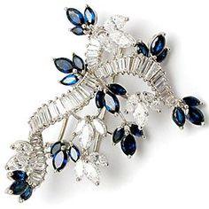 CARTIER VINTAGE DIAMOND & BLUE SAPPHIRE BROOCH PIN SOLID PLATINUM