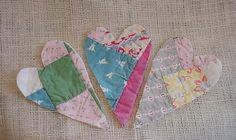 Patchwork Heart Appliques Shabby Prim Homespun Feedsack Embellishments Crafting Upcycled Vintage Cutter Quilt on Etsy, $8.99