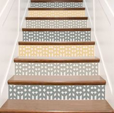 Arts and Crafts Mission Style Vinyl Decals for Stairs - Decals for Stair Riser Decor - Staircase Decoration