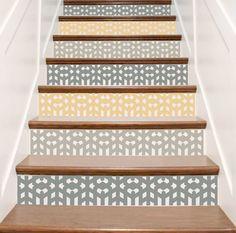 Contre marche papier peint l papiers de ninon cr ateur for Stickers pour marche d escalier
