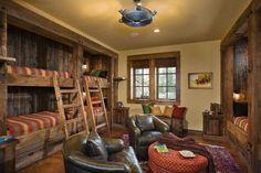 Rustic Bunk Beds, Lake House Bunk Room Cabin Bunk Room Ideas - DIY and crafts Bunk Beds Built In, Cool Bunk Beds, Loft Beds, Kid Beds, Rustic Bunk Beds, Cabin Beds, Cabin Bedrooms, Bedroom Rustic, Shared Bedrooms