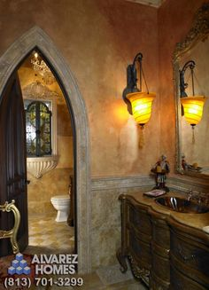 Old World Bathroom by Tampa Home Builders Alvarez Homes - mediterranean - bathroom - tampa - Alvarez Homes interesting window detail and door and light Tuscan Bathroom, Mediterranean Bathroom, White Bathroom, Bathroom Interior, Modern Bathroom, Medieval Home Decor, Tampa Homes, Bathroom Pictures, Bathroom Ideas