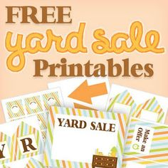 Free printable yard sale signs and price tags! These are so cute, I'm gonna have to have a yard sale! Yard Sale Signs, For Sale Sign, Garage Sale Tips, Garage Ideas, Rummage Sale, Getting Organized, Yard Art, Decoration, Making Ideas