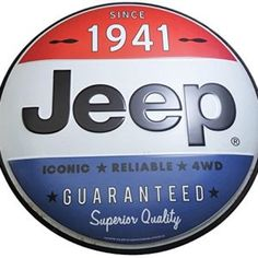 "12"" Round Hollow Curved Embossed Jeep Tin Sign Circle"