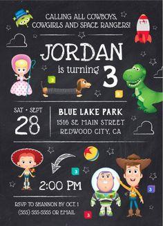 Shop Toy Story Chalkboard Birthday Invitation created by ToyStory. Toy Story Birthday Cake, 2nd Birthday Boys, Birthday Themes For Boys, 3rd Birthday Parties, Leopard Birthday Parties, Birthday Ideas, Cowboy Birthday, Birthday Bash, Toy Story Baby