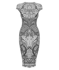 Raspberry lace pencil dress