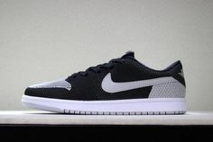sports shoes 5c3ce aead9 New Air Jordan 1 Low Flyknit Shadow Black Wolf Grey-White Mens Basketball  Shoes