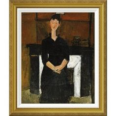 Global Gallery 'Woman Sat By a Fireplace' by Amedeo Modigliani Framed Painting Print Size: