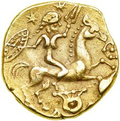 Epona, The Celtic Goddess She appears here riding a horse, holding a shield and a spear on an exceedingly rare and exceptionally fine Celtic gold stater from Rennes, Gaul that dates to the 2nd century...