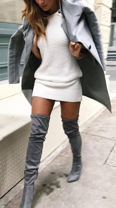 #fall #fashion ·  White Dress // Grey Coat & Knee Length Boots