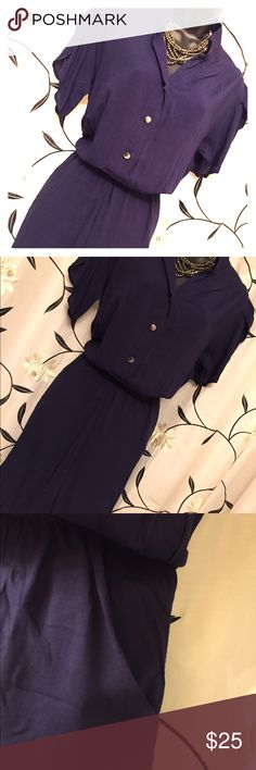Navy Blue Dress Working 9-5 Style. No collar and perfect slip on and go! Hem is at knee. Perfect for a busy woman always needing something cute and professional! Includes tulip sleeves and pockets! Ask any questions. Smoke free home. Dresses