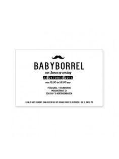 Babyborrel Kraamfeest Kaartje Moustache