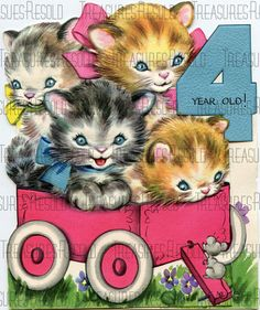 Happy Birthday Kitten Card 42 Digital Download by TreasuresResold