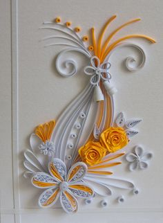 neli: Quilling card - flowers / white and orange /cool