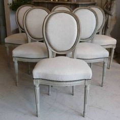 SET OF SIX 19TH CENTURY FRENCH LOUIS XVI DINING CHAIRS in ANTIQUE FURNITURE from Georgia Lacey