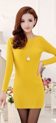 Knitted Wide Shoulder Long Sleeve Dress