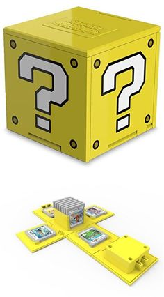 Une Question Block pour ranger les cartouches et Nintendo 3ds, Nintendo Consoles, Retro Video Games, Video Game Art, Super Mario Bros, Super Smash Bros, Objet Wtf, Blind Test, Nintendo Switch Accessories