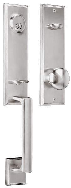 Weslock | Woodward I Collection | Satin Nickel | $192 | CHANGE KNOB TO UTICA LEVER