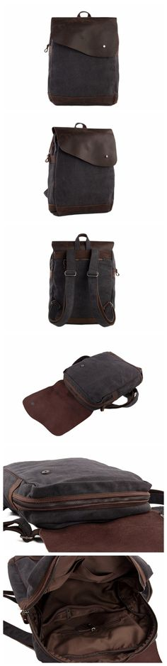 HANDMADE CANVAS LEATHER BACKPACK RUCKSACK SCHOOL BACKPACK CASUAL BACKPACK