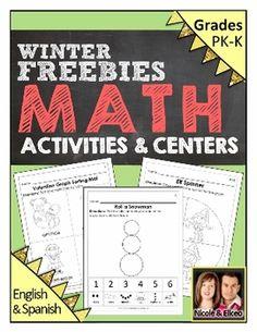 Preschool & Kindergarten Common Core Math FREEBIE for Winter