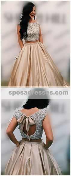 Sexy Two Pieces Cap Sleeves A-line Long Evening Prom Dresses, 17580