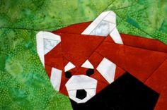 Red Panda w/Branch paper-piecing quilt pattern PDF por SchenleyP