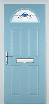 4 Panel 1 Arch Crystal Bohemia Composite Front Door in Duck Egg Blue