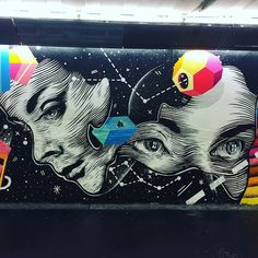 #streetart #paris #garedunord #portrait #woman #space #constellation #girl #urbanart #wallart #wallporn #sprayart #spraypaint #spraycan #graffiti #mural by touille2