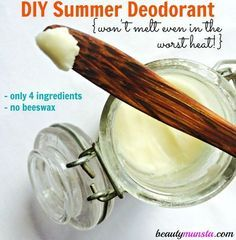 Make your own DIY deodorant that doesn't melt this summer with only 4 ingredients! I've been DIYing many of my health and beauty products for quite beauty Summer Homemade Deodorant without Beeswax - beautymunsta - free natural beauty hacks and more! Diy Deodorant, Diy Natural Deodorant, Coconut Oil Deodorant, Baking Soda Deodorant, Make Your Own Deodorant, Vegan Deodorant, Home Made Deodorant Recipes, Tea Tree Oil Deodorant, Beauty Care