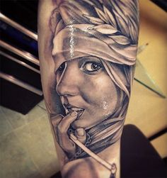 Very nice portrait tattoo on arm. The sooth shading great.