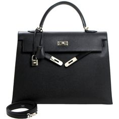 Pre-owned Hermès 35 cm Black Epsom Kelly Bag PHW ($12,999) ❤ liked on Polyvore featuring bags, handbags, hermes, handbags and purses, top handle bags, preowned bags, hand bags, man bag and purse bag