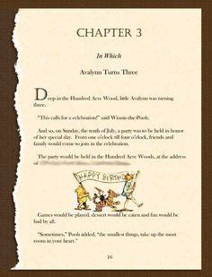 Winnie the pooh birthday invitation. Ripped story book page filled in with information about the party.