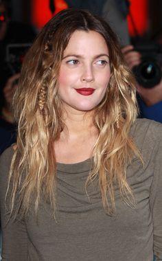 Drew Barrymore beige dress red lips blonde messy beach hair braid