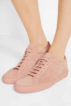 Rubber sole measures approximately 25mm/ 1 inch Pastel-pink suede  Lace-up front…