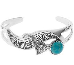 Roderick Tenorio Sterling Turquoise Eagle Cuff - Love this!