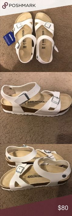 SIZE 38 White BIRKENSTOCK Rio sandals - Brand new White size 38 Birkenstocks! 80 or reasonable offer. Almost $20 off retail value already. Never worn, bought them in the Netherlands from a Birkenstock store. Perfect Christmas gift. Love them but decided they weren't for me! Birkenstock Shoes Sandals