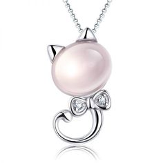New Silver Plated Animal Kitten Pendant Necklaces Female Natural Stone Pink Crystal Chain Necklace Cat Jewelry  - Cat Lover Jewelry - Accessories & Products for Cats