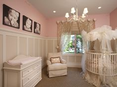 Love the boarding at bottom, cream and pale pink, gold or rose gold above?