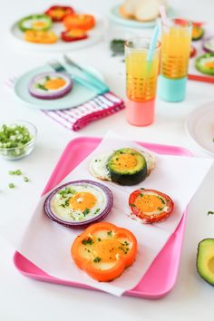 Bell Pepper, Onion, Avocado, and Tomato Ring Fried Eggs // Salty Canary