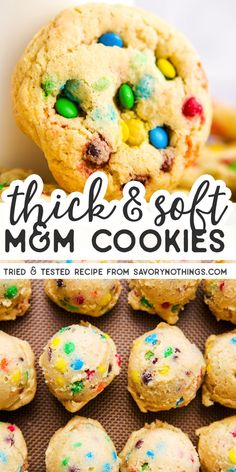 These are the softest and thickest M&M cookies you'll ever make! The dough is easy to make and the cookies have the best taste. Delicious Cookie Recipes, Easy Cookie Recipes, Homemade Desserts, Baking Recipes, Dessert Recipes, Cookie Ideas, Bar Recipes, Brownie Recipes, Sweet Recipes