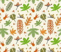 'Herbst' custom made fabric design by English/Finnish designer Mirjamauno, © 2014.