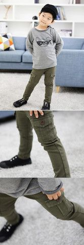 Skinny Cargo Pants for boys 1-8. Cool kids fashion at Color Me WHIMSY this fall/14.