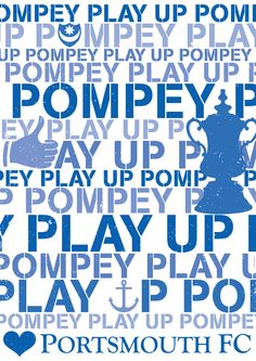 FREE DELIVERY - 2016 edition of Play Up Pompey poster, printed on gloss or matte art size first class in cardboard tube.